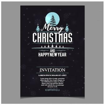 Рождественская пригласительная карточка с творческой типографикой