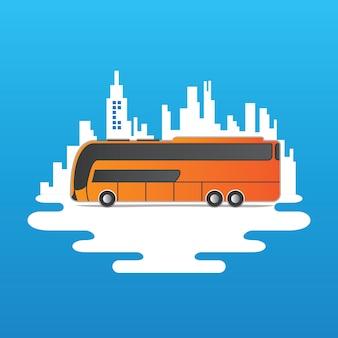 街のスカイラインのベクトル上のバス
