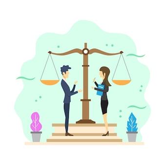 フラットな近代的な法律コンサルティングのベクトル図