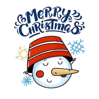 Рождественская открытка с забавным снеговиком
