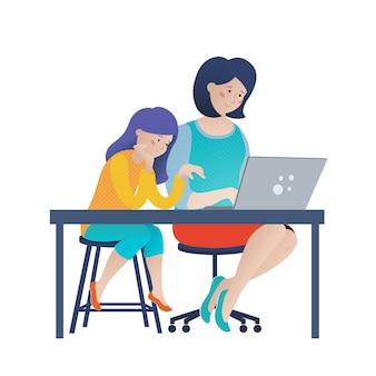 小さな女の子と彼女のお母さんがインターネットを閲覧