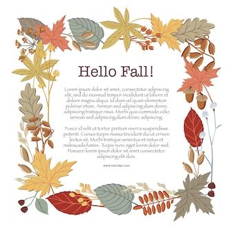 秋、紅葉、小枝および枝のテキストのための場所で作られた正方形のフレーム