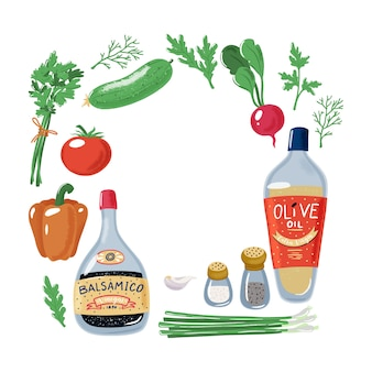 サラダ野菜、オリーブオイル、バルサミコ酢、塩、コショウの正方形のフレーム