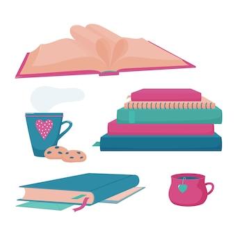 Куча, стопка книг и тетрадей, закрытая книга в твердом переплете с кисточкой и маркерами