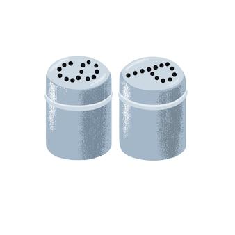 Набор подходящих цилиндрических металлических металлических солонок и перечниц