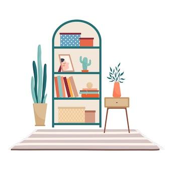 棚スタンド、本や収納ボックスを備えたキャビネット