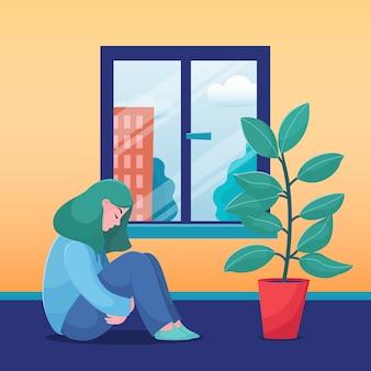 Грустная, несчастная девушка, молодая женщина, сидя дома одна, солнечная погода в окне, плоская векторная иллюстрация