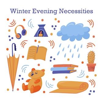 Симпатичный стикер с поздней осенью, осенью, зимними предметами первой необходимости