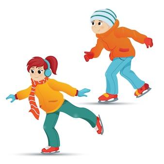 Подросток и девочка на коньках, зимний спорт