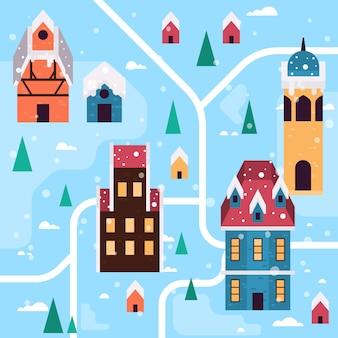 Рождественский город фон
