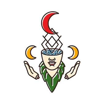 月と女性の頭