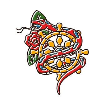Змея с колесом навигации и роза