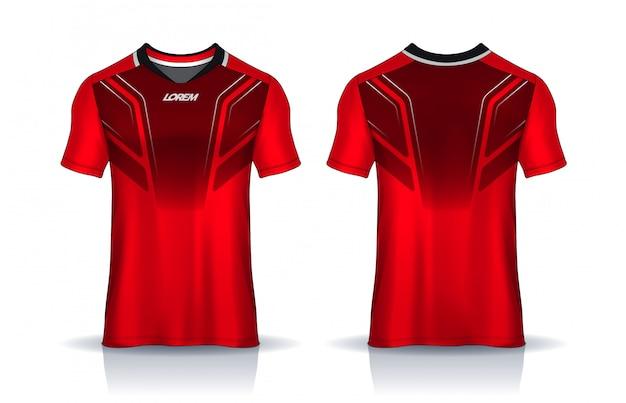 Футболка спортивного дизайна шаблона, равномерный вид спереди и сзади.