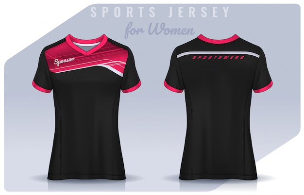 Футболка спортивного дизайна для женщин, футбольный макет для футбольного клуба. поло униформа шаблон.