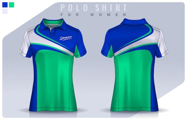 Футболка спортивного дизайна для женщин, футболка для футбольного клуба. поло униформа шаблон.