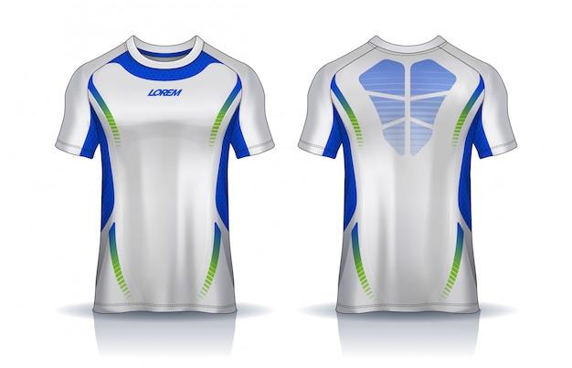 Футболка спортивного дизайна шаблона, макет футбольного свитера для футбольного клуба. равномерный вид спереди и сзади.