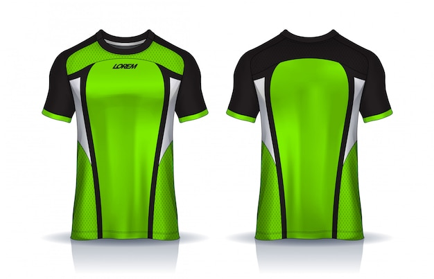 Футболка спортивного дизайна шаблона, футболка для футбольного клуба. равномерный вид спереди и сзади.