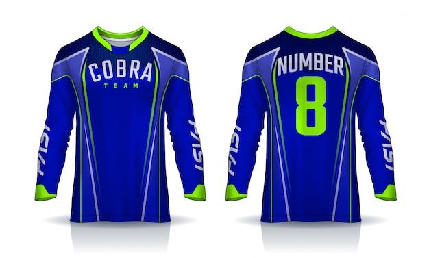 Футболка спортивного шаблона, футболка с длинным рукавом.