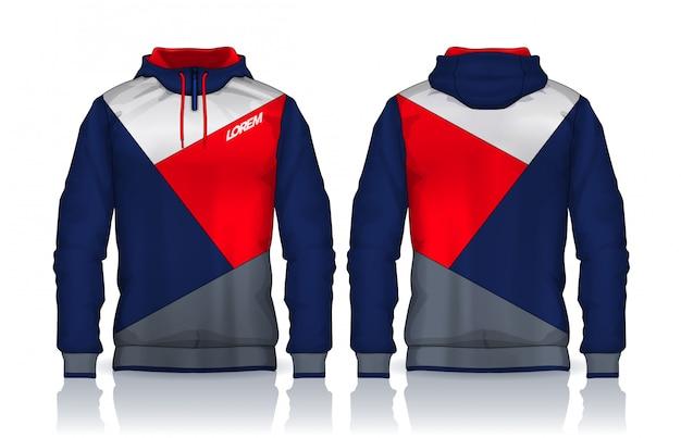 パーカーシャツテンプレート。ジャケットデザイン、スポーツウェアトラックの前面と背面。