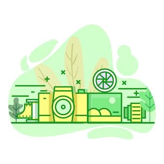 Фотография современная плоская иллюстрация зеленого цвета