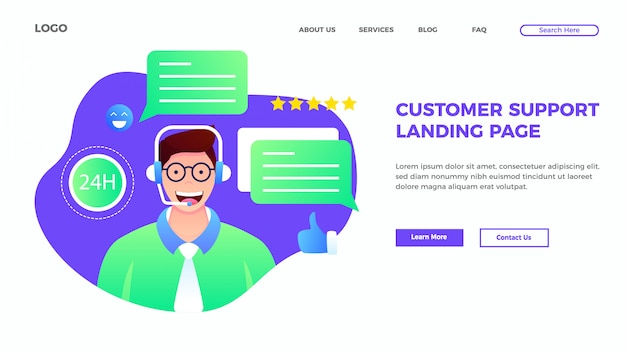 フラットスタイルの顧客サービスとサポートのランディングページテンプレート