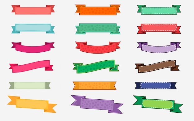 Различный стиль красочные векторные ленты набор