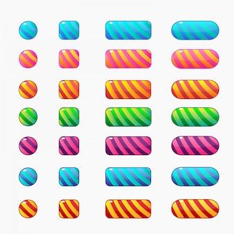 キャンディースタイルのカラフルなボタン