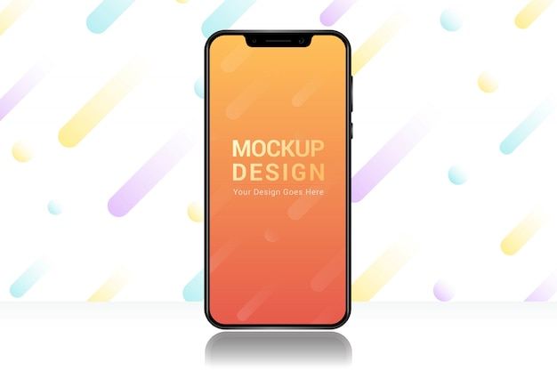現実的なスマートフォン画面のモックアップテンプレート