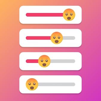 Набор слайдер улыбка для социальных медиа. векторная иллюстрация