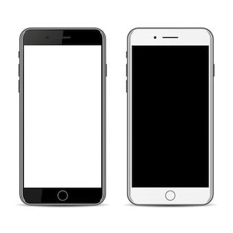 黒と白のスマートフォン、白い背景で隔離
