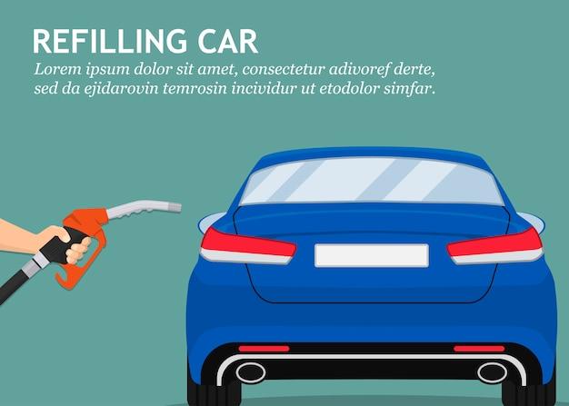 フラットなデザインで車の給油所の燃料ポンプを持っている手