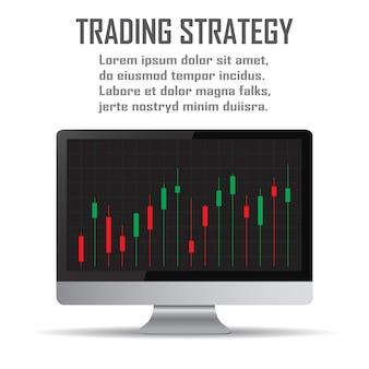 取引戦略投資戦略とオンライン取引ラインアートの概念