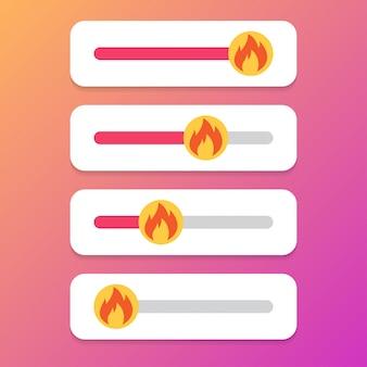 Набор ползунка огня для социальных медиа.