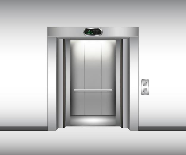 リアルなオープンメタルエレベーター。ベクトルイラスト