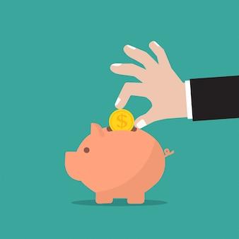 Копилка и бизнесмен рука с монетой в плоском дизайне