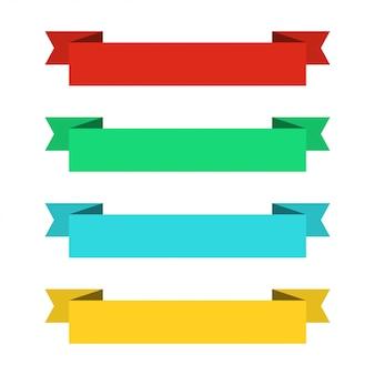 フラットリボンバナー。フラットなデザインのリボン。カラフルなリボンのベクトルを設定