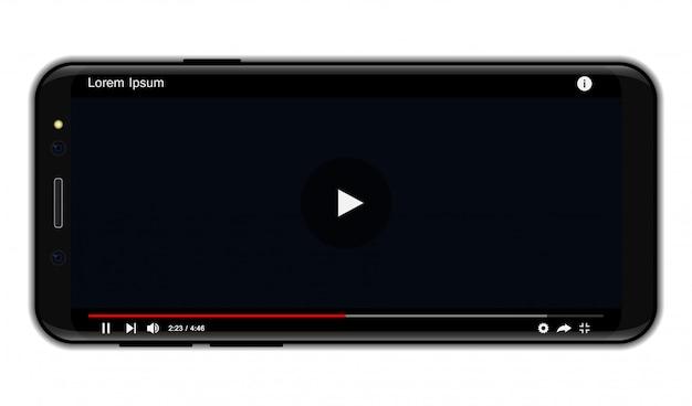 ソーシャルメディア用のモバイルビデオプレーヤーインターフェースを備えたスマートフォン