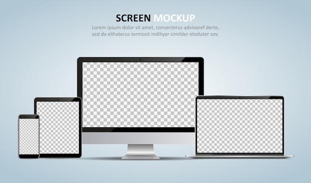 コンピューターのモニター、ラップトップ、タブレット、および設計のための空白の画面を持つスマートフォン
