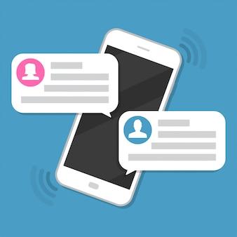 チャットメッセージ通知付きのスマートフォン