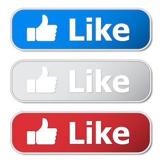 Набор кнопки «мне нравится» с металлическим каркасом и тенью