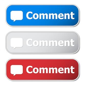 金属フレームと影付きのコメントボタンのセット