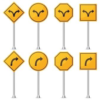 Набор желтого дорожного знака поворота. векторная иллюстрация