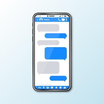 ソーシャルメディアのメッセンジャーウィンドウを備えたスマートフォンとのモックアップ
