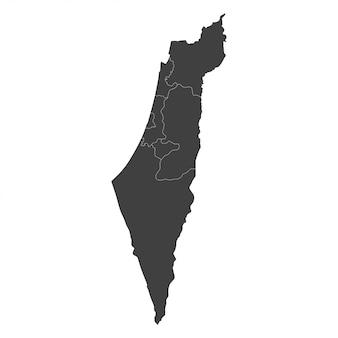 白地に黒い色で選択された地域とイスラエル地図