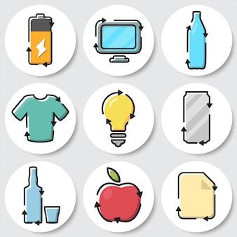 Набор иконок корзины. аккумулятор, электронные отходы, пластик, текстиль, лампочка, металл, стекло, органика, бумага