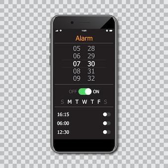 モックアップアラームインターフェイスを備えたスマートフォン。