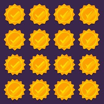 黄金のチェックマークメダルアイコンのセット。