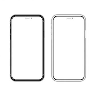 Черно-белый новый смартфон с пустым экраном на белом с тенью