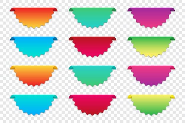 空白のグラデーションインフォグラフィックバナーのセット。