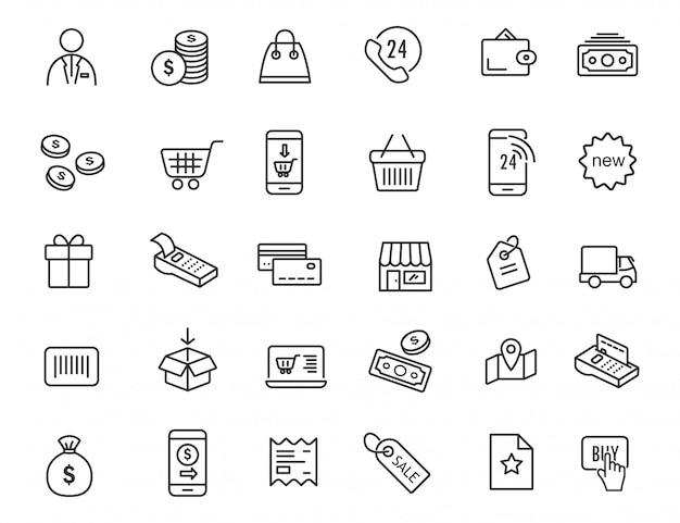 Набор иконок линейной электронной коммерции. шоппинг иконки в простом дизайне.